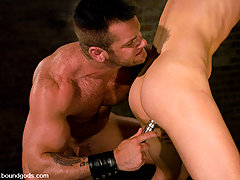 Gay Pictures -  New slave chet gets tied up and fucked by Master Tober