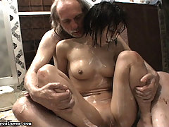Slaves Pictures -  Osada Steve humiliates his slave with a disgusting bath of food products