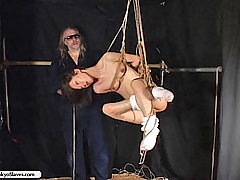 Slaves Pictures -  Osada Steve continues his abuse of Tenshis pussy with chains and clothespins