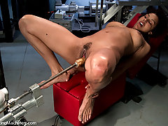Fucking Machines Pictures -  First time on film - local dancer fucks machines, cums hard.