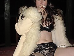 Fetish Pictures -  Abigail is catching a smoke at a crazy fetish party