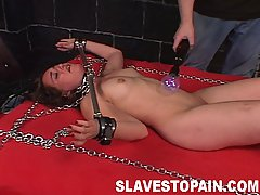 Pain Pictures -  Monique is chained to the bed and helplessy to stop the severe nipple and pussy torture