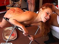 Punishment Pictures -  Slave gets punishment and reward and two hung studs oppress a sub