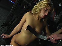 Pain Pictures -  A lusty captive is roughed up by her master and takes on a thick cock