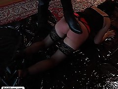 Punishment Pictures -  A pretty sub takes her masters punishment and gets hung for her trouble