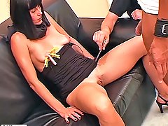 Pain Pictures -  Older Euro babe gets punished then sucks cock