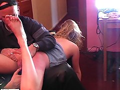 Slaves Pictures -  Young blonde babe is manhandled and spanked by two masked intruders