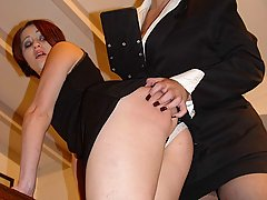 Spanking Pictures -  Packed and stacked therapist spanks her luscious patients
