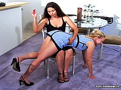 Spanking Pictures -  Secretary gets spanked by her female boss