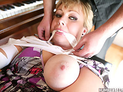 Bondage Pictures -  Hot bodied MILF is bound, disgraced and fucked!