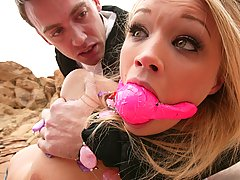 Bondage Pictures -  Beautiful young blonde is disgraced and fucked like a pig
