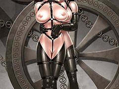 BDSM Art Pictures -  Slaves in captivity. Humiliated, inserted with objects and hung or whipped