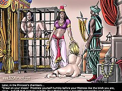 BDSM Art Pictures -  ZANZIBAR SLAVE MARKET. White slavegirl to her Oriental Mistress and Master. EU INNOCENCIUS