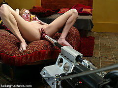 BDSM Toys Pictures -  Insatiable blonde enjoys fast and deep machine pounding.