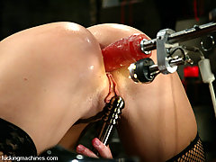 Fucking Machines Pictures -  This newbie gets strapped to the cyclorack and machine fucked.