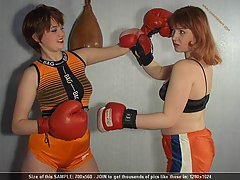 Wrestling Pictures -  Teens in topless kickboxing match