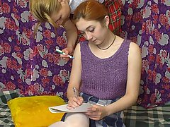 Wrestling Pictures -  Scoolgirls doing homework get rough