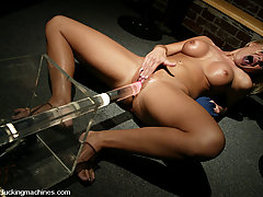 Fucking Machines Pictures -  Faith takes a machine deep, hard, and fast up her ass and pussy!