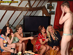 CFNM Pictures -  Anne Summers party girls use lodger to try on thongs before wanking him dry