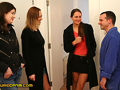 CFNM Pictures -  Uncle accidentally shows his cock to three girls who decide they like it