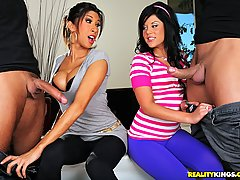 CFNM Pictures -  2 smoking hot big ass tits brunettes get their asses and pussys filled in this hot fucking masterbation 3some