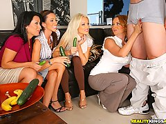 CFNM Pictures -  3 hot ass milfs give lessons on how to suck cock with cucumbers then demonstate on a real big cock dude in these hot 4some masterbation fucking big hd video and pics