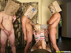 CFNM Pictures -  Bangin babe devon and her hot milfs get fucked hard b y 3 dudes with paper bags on their heads in this hot milf fucking marathon