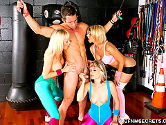 CFNM Pictures -  5 hot ass gym babes suck and fuck a lucky big dong dude in these amazing group sex gym fucking pics and 2 big movies