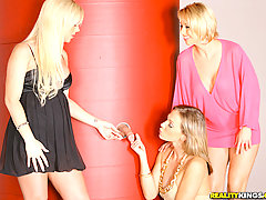 CFNM Pictures -  3 hot milfs suck on a cock through the glory hole then get their pussies fucked and finger banged in these hot group fucking pics