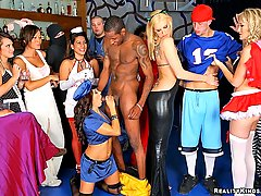 CFNM Pictures -  Hot beautiful 3 amazing milfs dressed in cat costumes and nurses take advantage of 2 horny boys strip him down then have them fuck the hot police officer in these hot pics