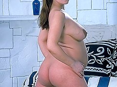 Pregnant Pictures -  Soon to be mom show off her enormous belly and spreads her thighs to play with her cunt