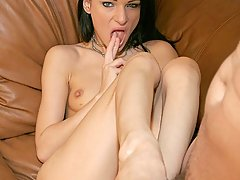 Feet Pictures -  Hot chick Vic Sinister wraps her pretty feet around a huge cock in this hot living room scene