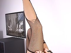 Feet Pictures -  Wild Slut Nude Playing Torn Stockings