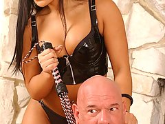 BDSM Pictures -  Hot domina enslaves and beats a masochist stud