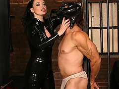BDSM Pictures -  Naughty domina punishing a chained stud with clamps
