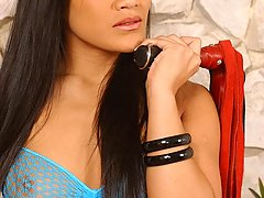 BDSM Pictures -  Asian domina hottie beats and whips a stud