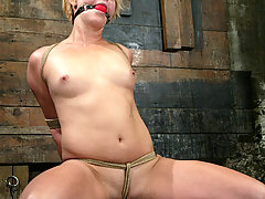 BDSM Pictures -  Fit girl tied down and machine fucked!