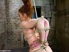 Bondage Pictures -  Amazonian red head, stripped, bound, and forced to CUM!