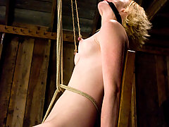 Bondage Pictures -  Shaved blond's pussy is tormented with tight crotch ropes.