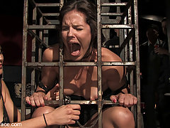 Humiliation Pictures -  Bobbi Starr is locked in a cage and fucked by drunk and horny bar patrons