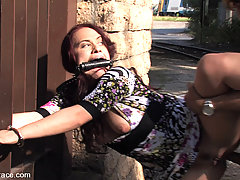 Humiliation Pictures -  Hot Russian babe deep throats cock on the street