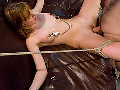 Couples Pictures -  Role play of submissive model persuaded into bondage and sex.
