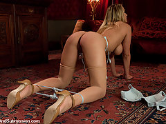 BDSM Pictures -  Busty beauty Alanah Rae, a sex slave fucked in bondage.