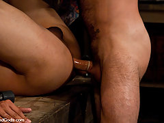 Gay Pictures -  Nick Morettit is all Slicked Up and fucks Gianni Luca in metal restraints.