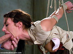 Couples Pictures -  Sexy girl fucked in bondage in suspension bondage.