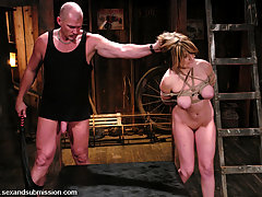 BDSM Pictures -  Tyla sucks cock and ass fucked in bondage