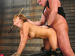 Couples Pictures -  Submissive Sativa Rose is bound and reacts in squirting orgasms.