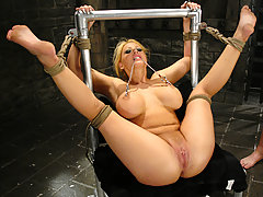 BDSM Pictures -  Candy Manson is helplessly bound and face fucked.