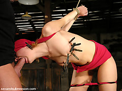 Couples Pictures -  Submissive Kimberly Kane struggles in bondage while fucked.