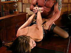 Couples Pictures -  Veronica, new to BDSM, suffers as she is forced to give a blowjob